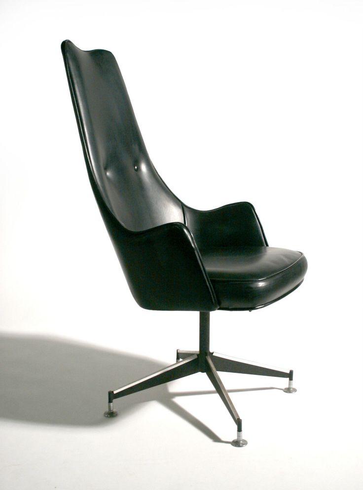 Mid century modern desk more - 50 S Mid Century Modern Sculptural Tall Back Swivel Desk Chair