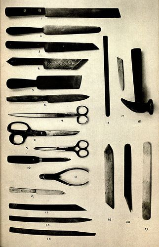 Tools used in book repair and restoration