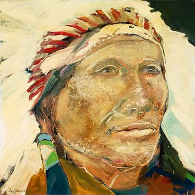 native american with headdress. artist: ira yeager