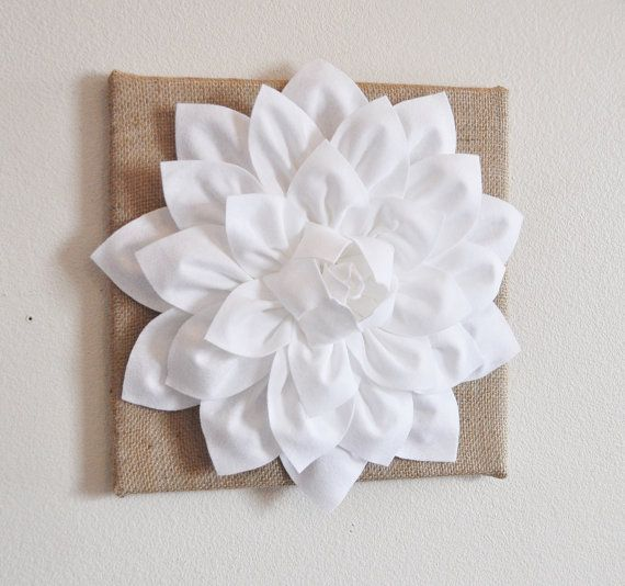 Wall Decor White Flowers : Wall flower white dahlia on burlap quot canvas