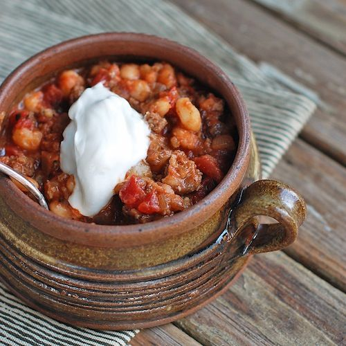Spicy white bean chili with pork. The smoked paprika and hominy make ...