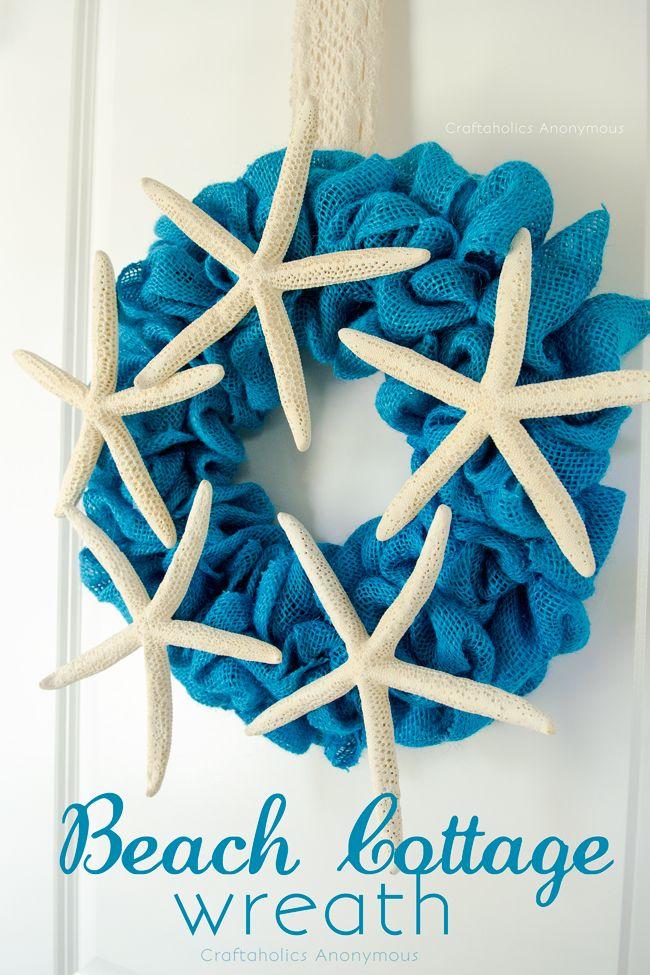 Cute DIY Beach Cottage Wreath with full tutorial