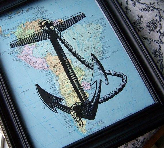 Anchor, Atlas Page, Nautical, Steampunk, Atlas, Ships Anchor, Navy, Ship, Boat, Ocean. $9.25, via Etsy.