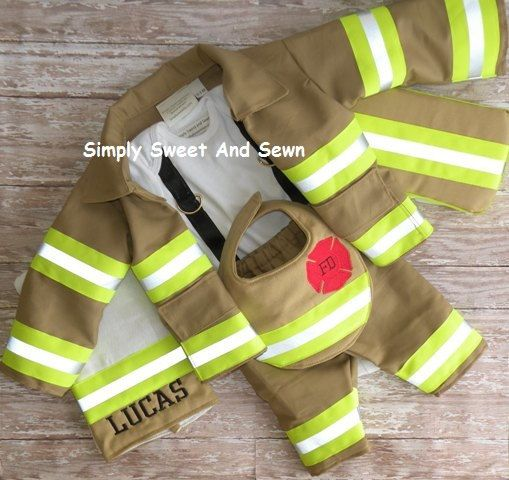 Firefighter Baby Boy  Outfit ,Jacket, matching bib, Personalized burp cloth, wipe case and ax,  baby shower gift, New baby Gift, Halloween on Etsy, $140.00