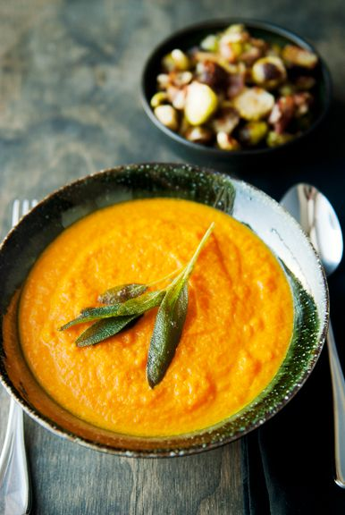 roasted carrot and ginger soup recipe (I top with goat cheese and toasted pine nuts or sunflower seeds)