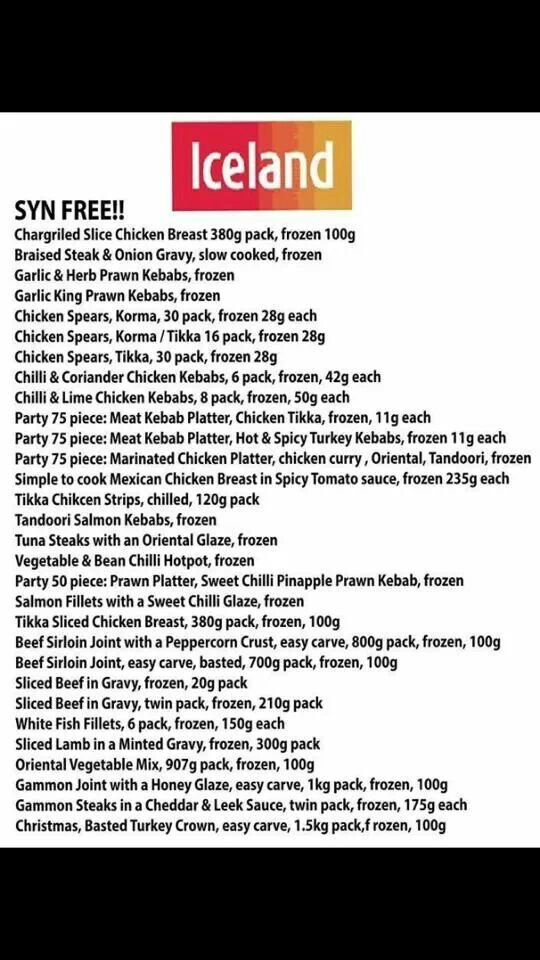 Iceland Syn Free X Slimming World X Pinterest