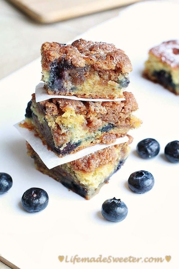 Blueberry Buttermilk Streusel Coffee Cake Squares.