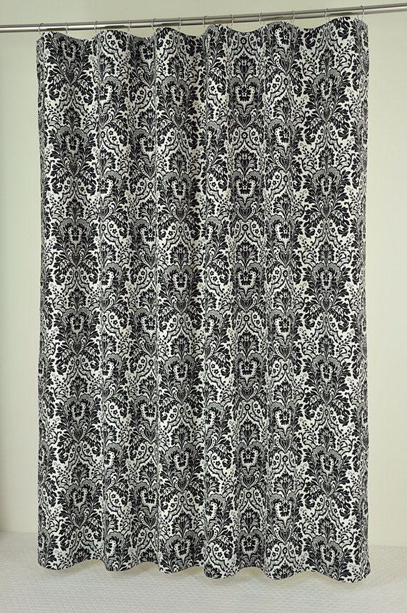 72 x 84 long black damask shower curtain extra long
