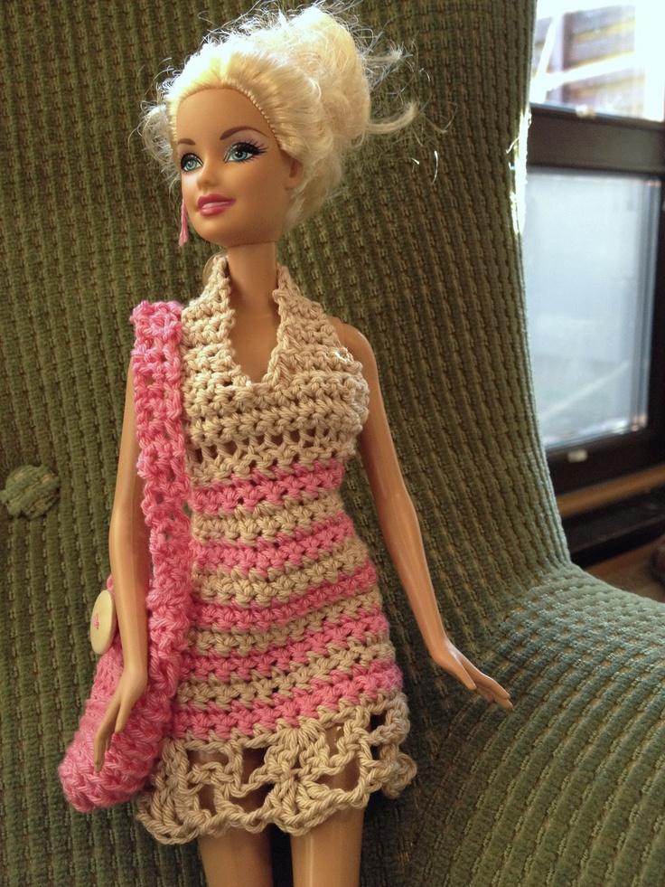 Crochet Barbie : crochet dress & bag for Barbie Crochet for Dolls Pinterest