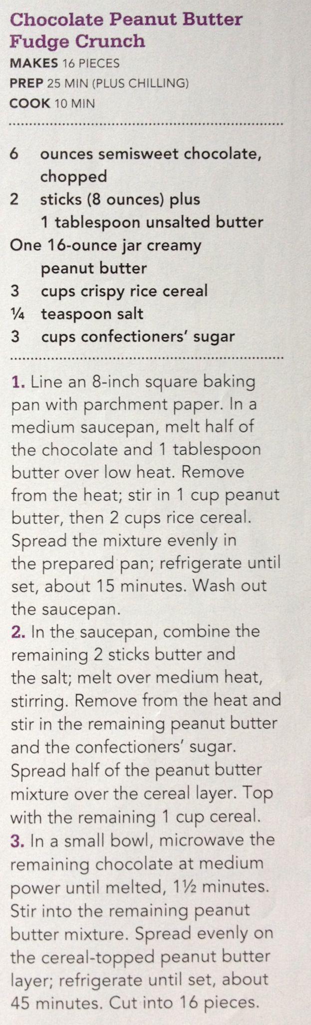 Chocolate Peanut Butter Fudge Crunch | Recipes - Desserts | Pinterest