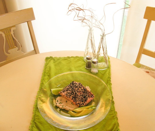 Linzy's Sesame Crusted Salmon over Tahini Miso Sauce — Quick ...