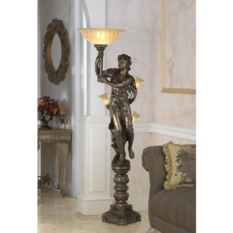 Bronze Maiden Statue Torchiere Floor Lamp