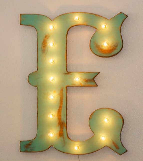 24quot large vintage style marquee letters wood a for Large vintage marquee letters
