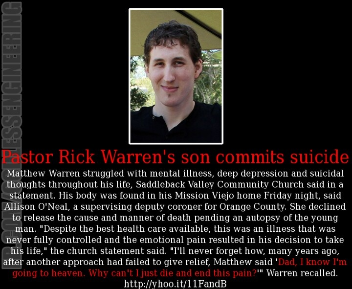 Rick warren s son committed suicide knew he was going to heaven
