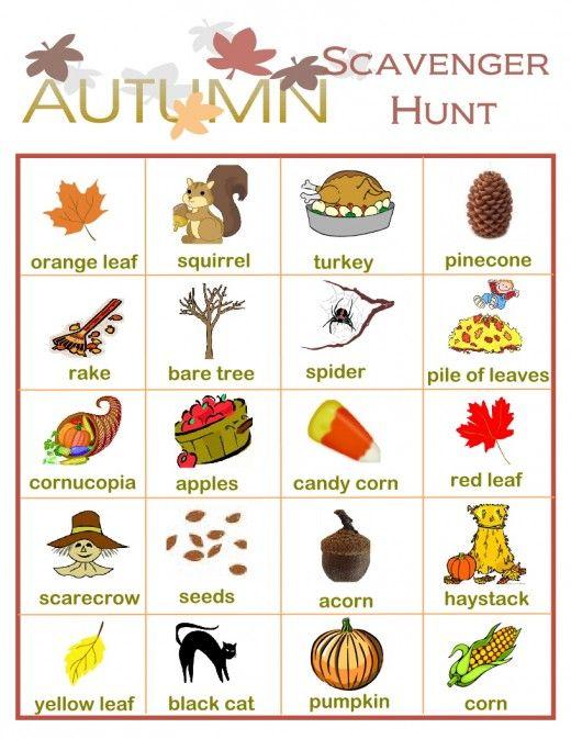 Fall Backyard Scavenger Hunt :  fall environment http worldseeker hubpages com hub fall scavenger hunt