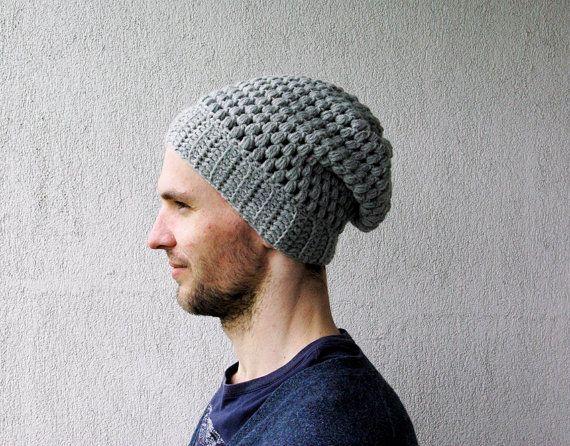 Crochet Mens Hat : Slouchy Beanie Mens Crochet Hat Slouch Hat Unisex Crochet baggy Hat