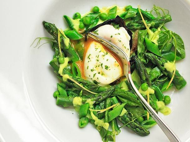 Spring Salad of Asparagus, Ramps, Snap Peas, and Peas, with Poached ...