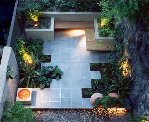 small back courtyard with strong geometric lines