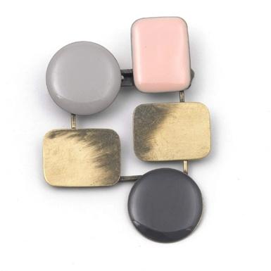50s 'Molecular' Brooch (Grey/Pink)
