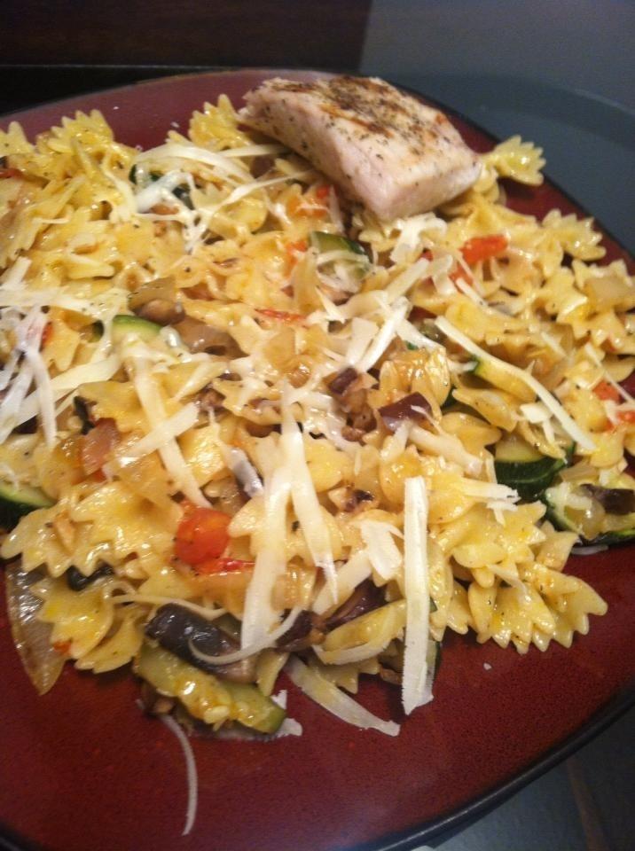 Sautéed zucchini, baby portabellas, onions, fresh garlic, and marzano ...