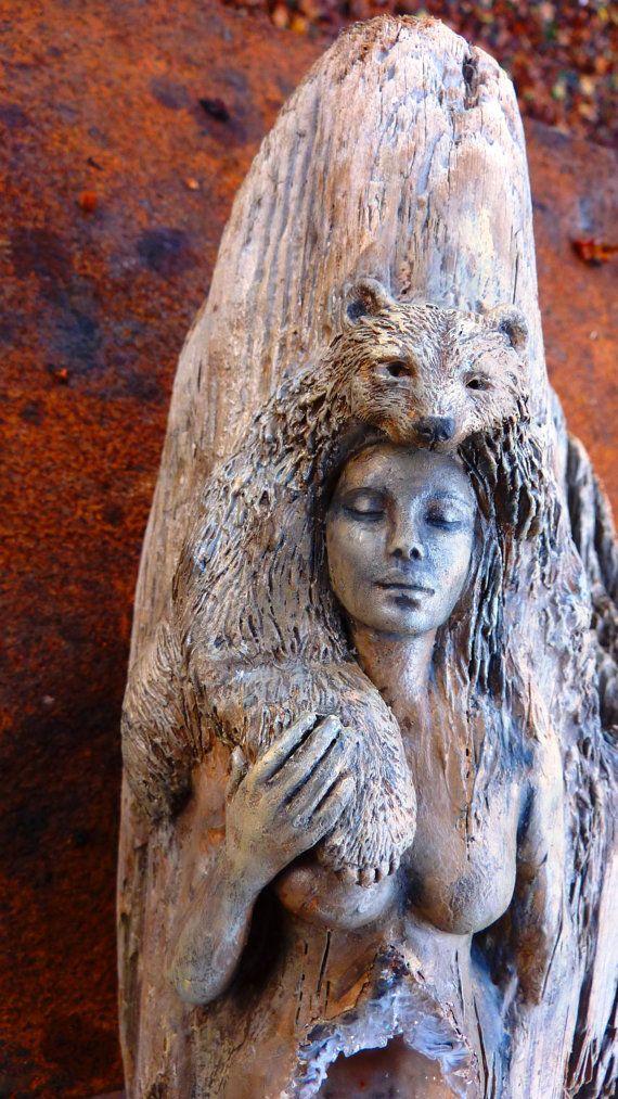 Spirit bear and woman forest wood sculpture