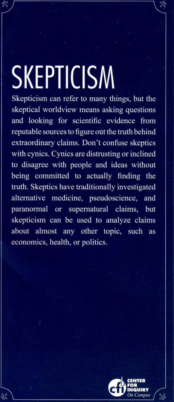 an analysis of the topic of skepticism Read chapter 3 guiding principles for scientific inquiry:  our analysis these principles of science are  explicit or tacit— of the problem or topic.