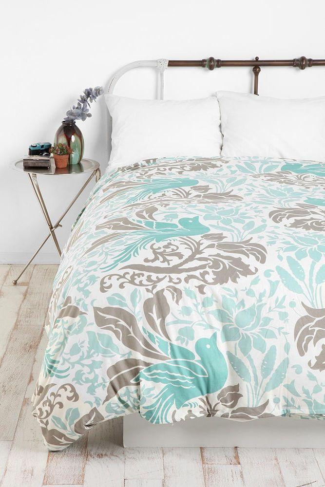 urban outfitters flourish bird bl gr duvet cover bedding. Black Bedroom Furniture Sets. Home Design Ideas