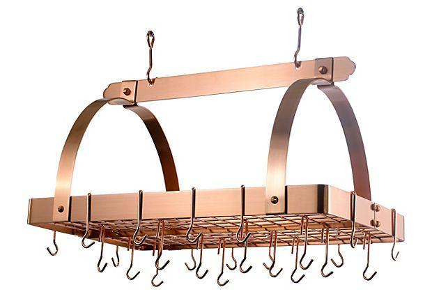 24 Hook Hanging Pot Rack Copper