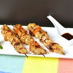 Tamarind glazed chicken, onion and apricot kabobs - really unique ...