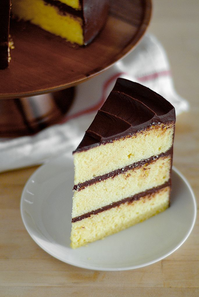 ... famous yellow cake with chocolate sour cream icing... a must try