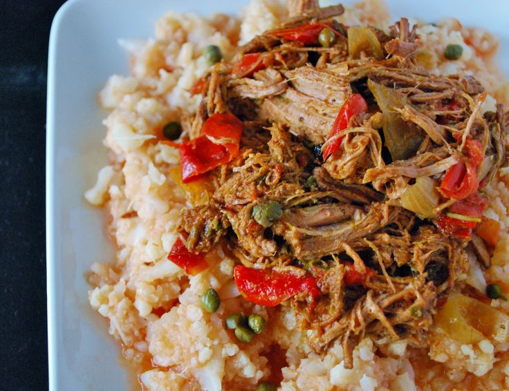 Ropa Vieja with Cauliflower Rice - Slow Cooker - Eye of round roast ...