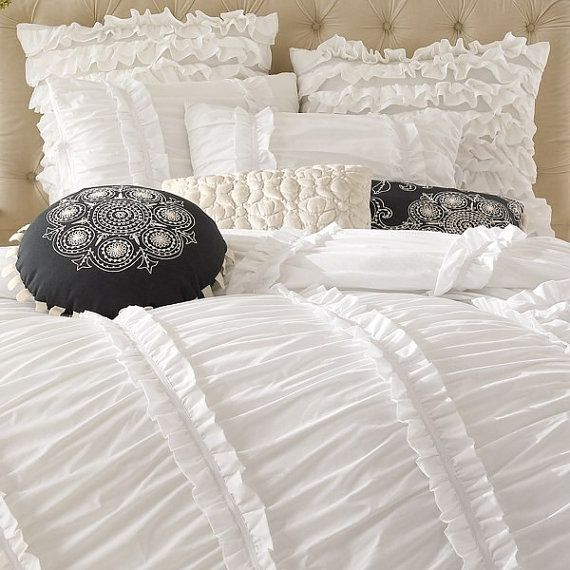 White ruched ruffled 3pcs bedding set queen by lovelydecor on etsy