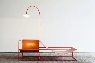 leather and metal chair / lounge / reading light