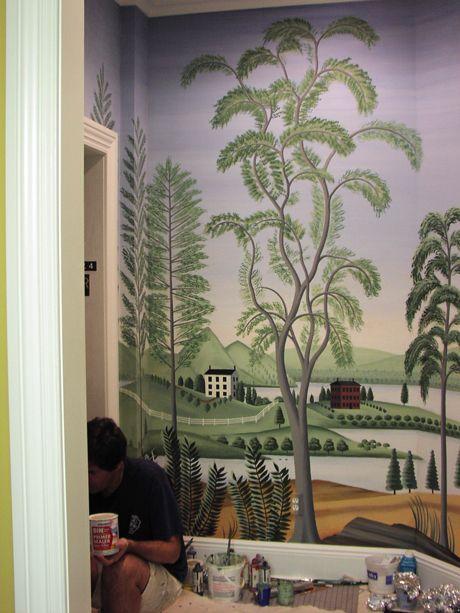 Rufus porter style mural folk art landscapes pinterest for Colonial mural wallpaper