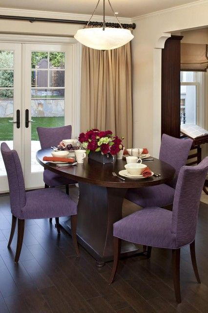 Purple chairs dining room pinterest for Dining room ideas purple