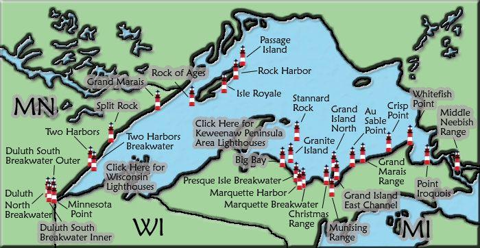 Lake Superior Lighthouse Map Michigan Pinterest