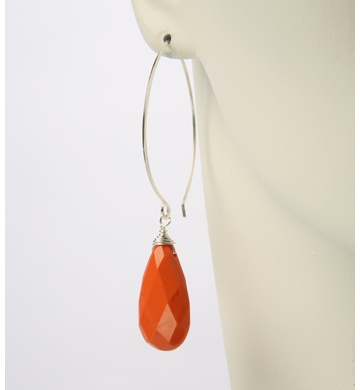 Mark Edge - Orange Quartz, Handmade Ear Wire Sterling Silver