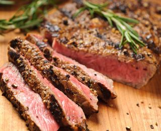 Grilled Sirloin with a Coffee Bean-Peppercorn Crust