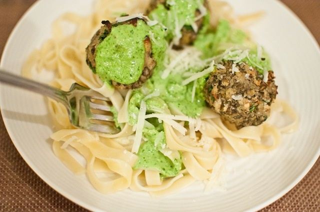 "lentil ""meatballs"" w lemon basil pesto via keepitsimplefoods.com"