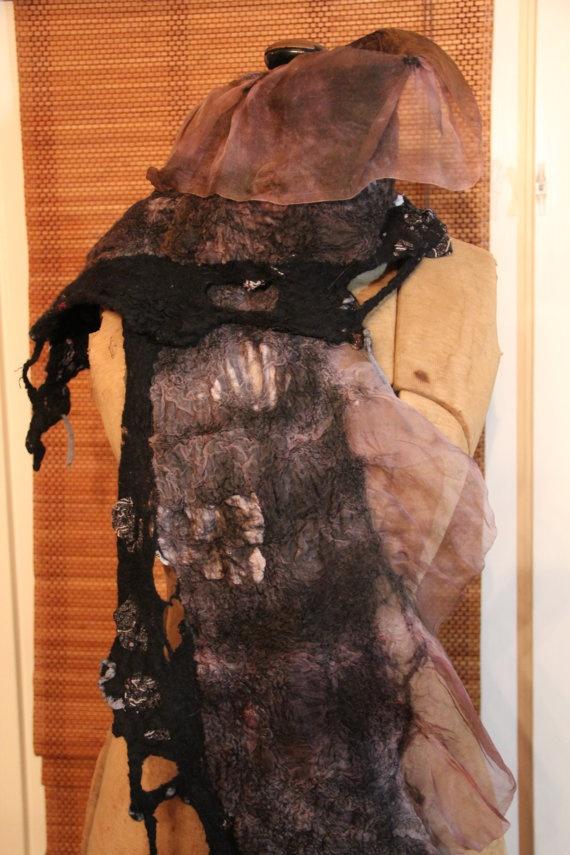 Nuno Felted Black Collage Shawl by JPBeth on Etsy, $165.00