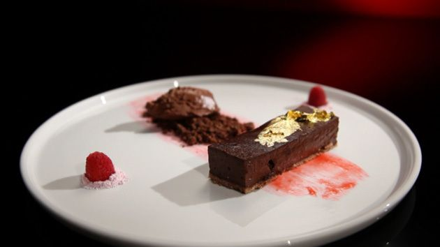... and earl grey tart with chocolate chantilly and Raspberry sherbert