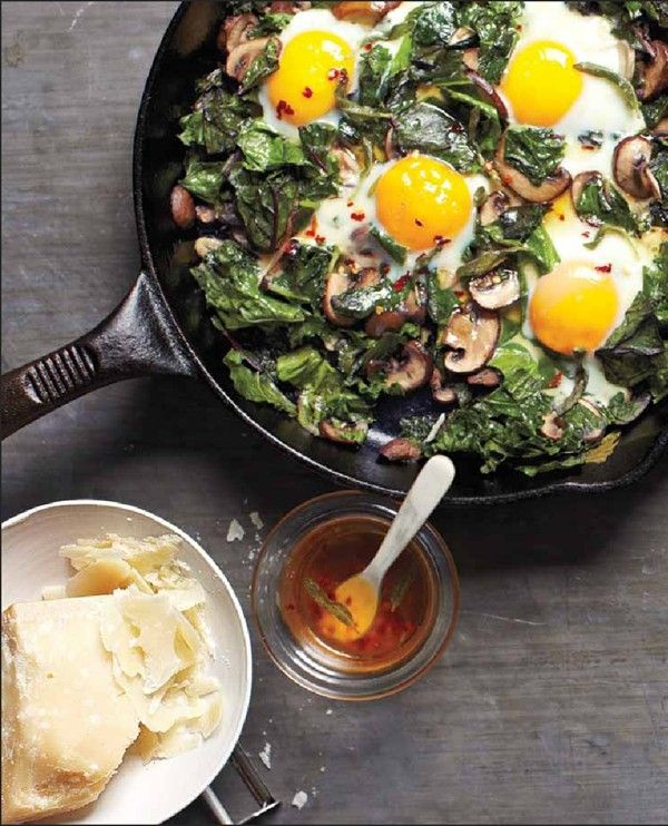 Skillet greens with eggs and mushrooms | Nibbles | Pinterest