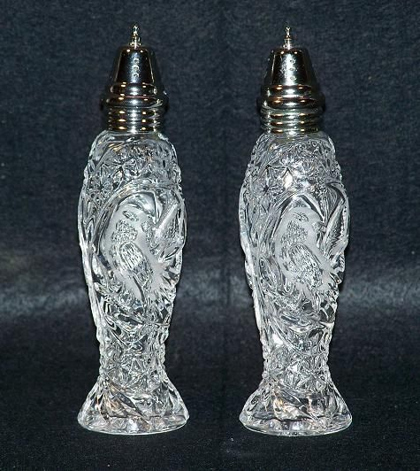 Byrdes Crystal Salt And Pepper Shakers Beautiful Glass