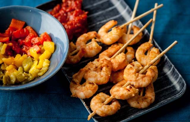 Prawn skewers with tomato chutney and roast peppers - Alfred Prasad