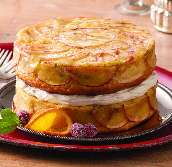 Recipe For Upside-Down Apple Cake with Whiskey-Soaked Fruit