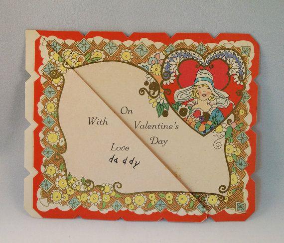 vintage valentine girl planter