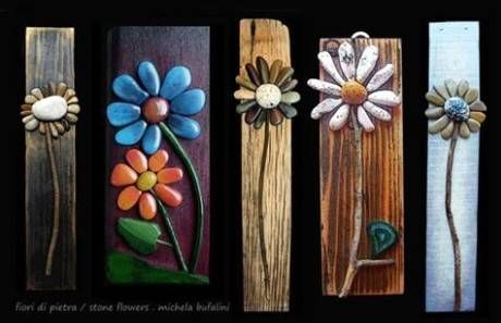 River rock flower art fun crafts pinterest for River rock craft ideas