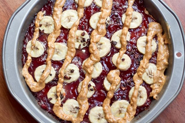 PB and Jam breakfast pizza. I have to make this for my brother he ...