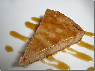 Roasted Banana Cheesecake with Maple Rum Sauce.