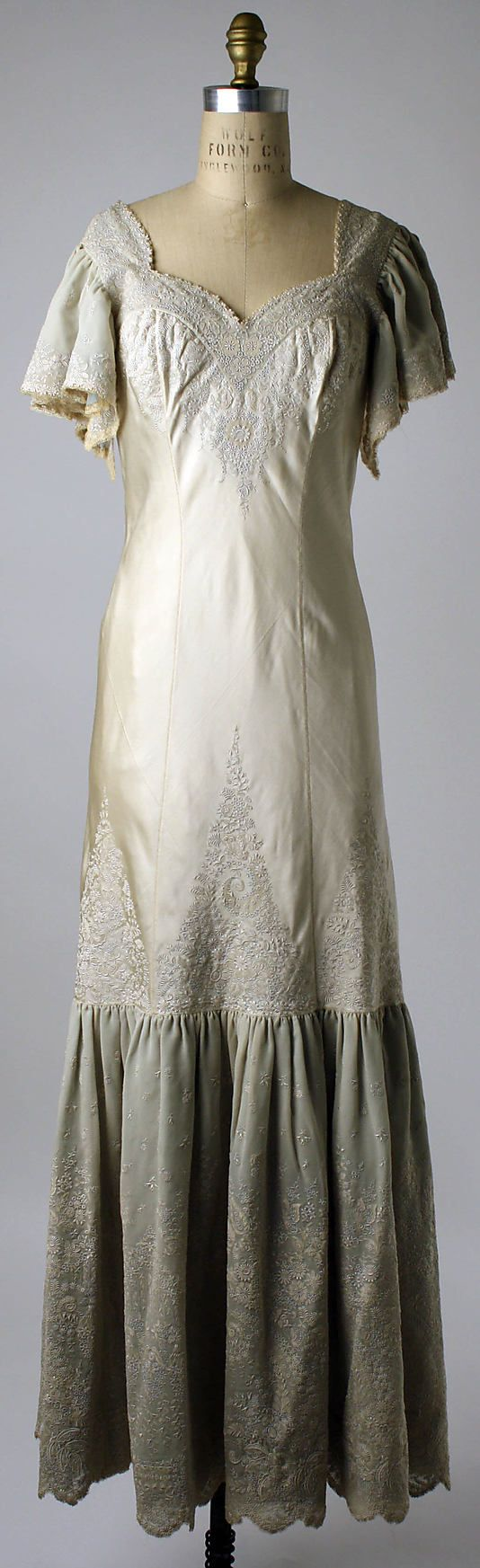 Embroidered silk nightgown, Chinese, early 1920s. Worn by Mrs. Herbert Sage Mesick